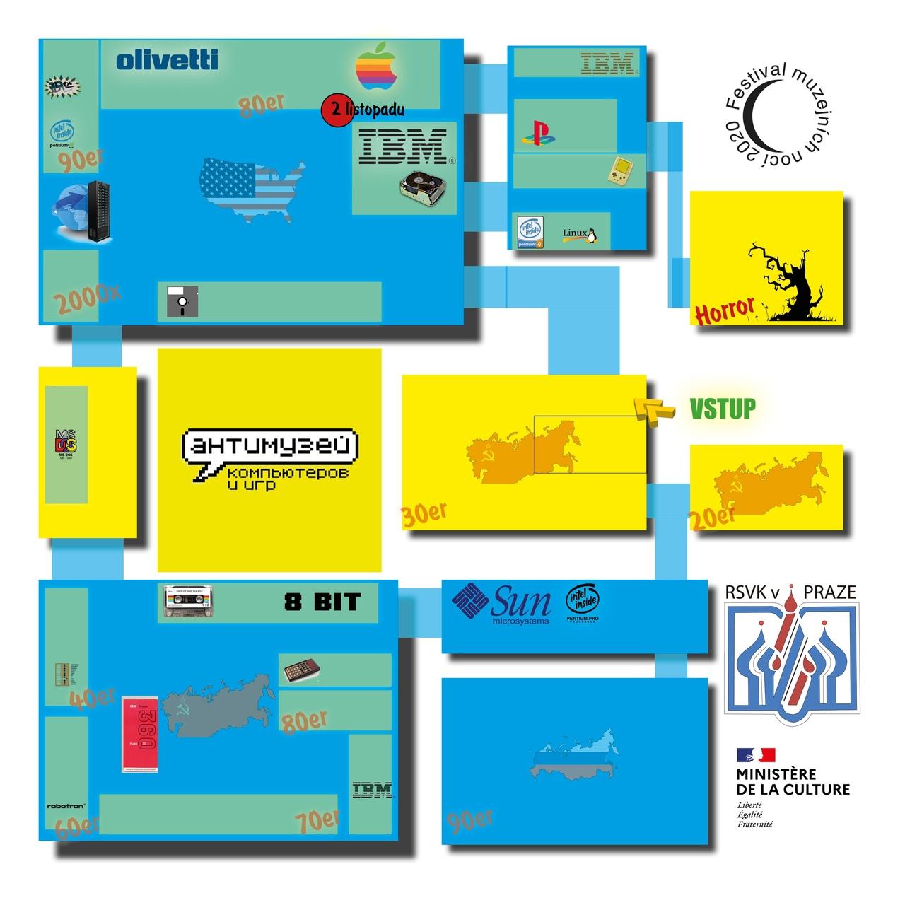 Схема музея компьютеров и экспозиция